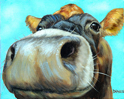 Jersey Cow Painting - Jersey Cow Very Close Up by Dottie Dracos