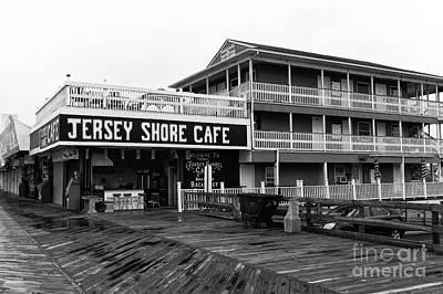 Jersey Shore Cafe Mono Art Print by John Rizzuto