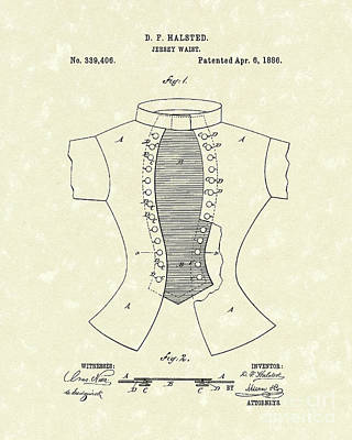 Drawing - Jersey Waist 1886 Patent Art  by Prior Art Design