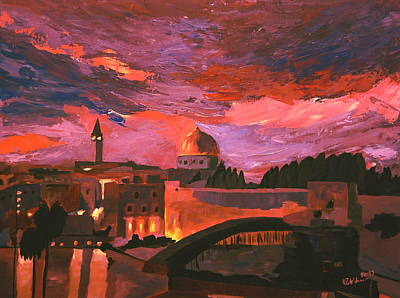 Sepulcher Painting - Jerusalem At Sunset by M Bleichner
