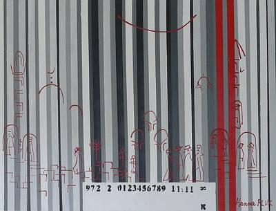 Jerusalem Black And Withe Barcode Art Print by Hanna Fluk