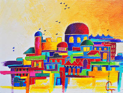 Purim Painting - Jerusalem by Dawnstarstudios