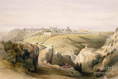 Historic Architecture Painting - Jerusalem From The Mount Of Olives by David Roberts