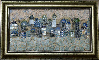 Religious Artist Mixed Media - Jerusalem In Blue And White by Reli Wasser
