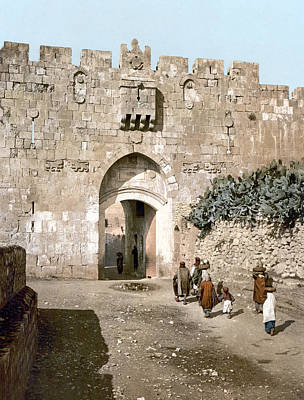 1900 Architecture Painting - Jerusalem Lion's Gate by Granger