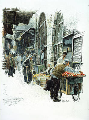 Stalls Painting - Jerusalem Street by Graham Braddock