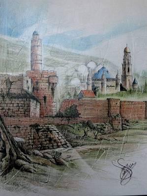 Holyland Digital Art - Jerusalim3 by Samir Saqallah