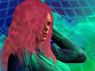 Digital Art - Jess Goes Pink by Nancy Pauling