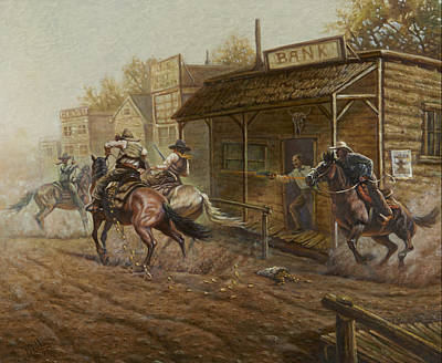Clay Painting - Jesse James Bank Robbery by Gregory Perillo