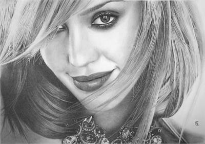 Jessica Alba Drawing - Jessica Alba by George Sotirchos