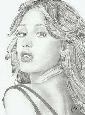 Jessica Alba Drawing - Jessica Alba by Niranja Jayasinghe