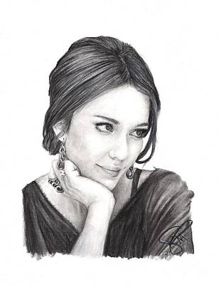 Jessica Alba Wall Art - Drawing - Jessica Alba by Rosalinda Markle