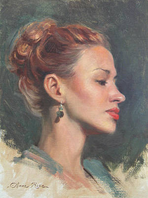 Pin-up Painting - Jessie In Profile by Anna Rose Bain