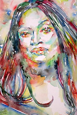 Painting - Jessye Norman - Watercolor Portrait by Fabrizio Cassetta
