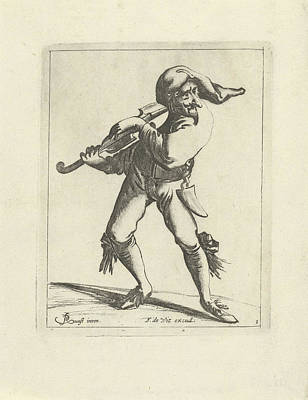 Night Cap Drawing - Jester With A Violin by Pieter Jansz. Quast And Frederik De Wit