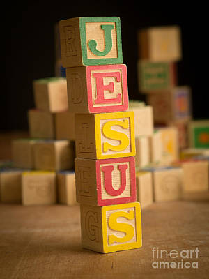 Photograph - Jesus - Alphabet Blocks by Edward Fielding