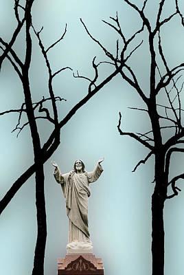 Jesus And Barren Trees Chicago Illinois Original by John Hanou