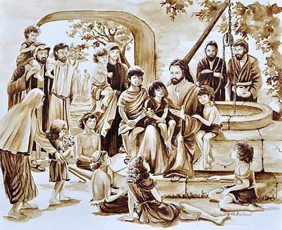 Painting - Jesus And Children by Gertrudes  Asplund