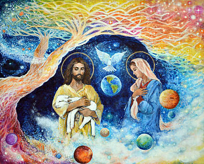 Coming Clouds Painting - Jesus And Mary Cloud Colored Christ Come by Ashleigh Dyan Bayer