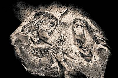 Photograph - Jesus And Mary, From The Series, Stations Of The Cross 2015 by Joy Lions