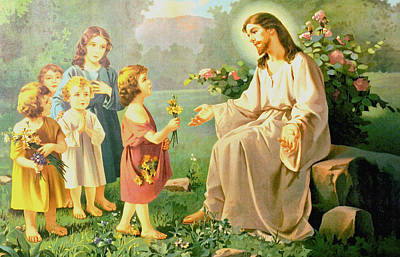 Jesus And The Little Children Art Print