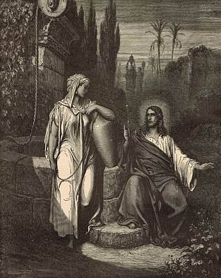 Jesus And The Woman Of Samaria Art Print by Antique Engravings