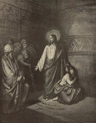 Yeshua Drawing - Jesus And The Woman Taken Into Adultery by Antique Engravings