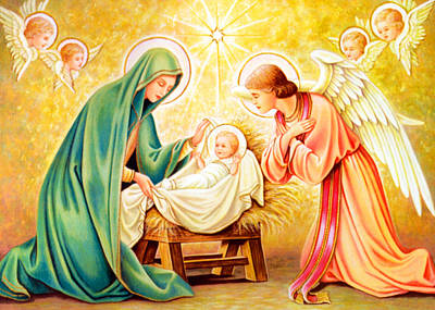 Jesus Birth Print by Munir Alawi