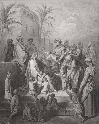 New Testament Drawing - Jesus Blessing The Children by Gustave Dore