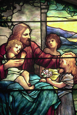 Jesus Blessing The Children In Stained Glass Art Print