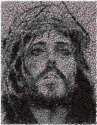 Jesus Bottle Cap Mosaic Art Print by Paul Van Scott