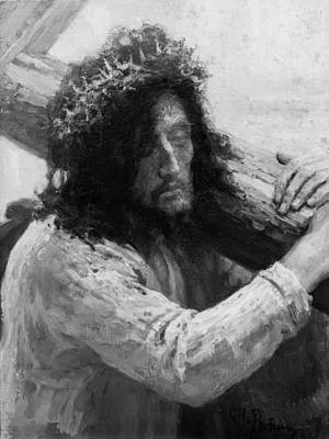 Religion Drawings Drawing - Jesus Carrying The Cross Circa 1898  by Aged Pixel