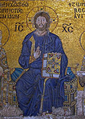 Byzantine Greek Icon Photograph - Jesus Christ Mosaic by Stephen Stookey