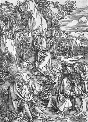 Jesus Christ Drawing - Jesus Christ On The Mount Of Olives by Albrecht Durer or Duerer
