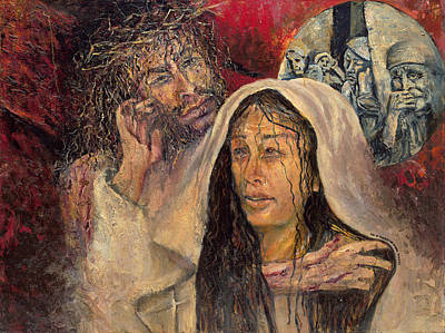 Painting - Jesus Comforts His Mother by Patricia Trudeau