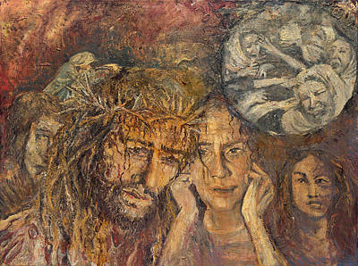 Painting - Jesus Comforts The Woman Of Jerusalem by Patricia Trudeau
