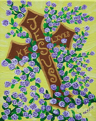Painting - Jesus He Lives Cross by Vicki Maheu
