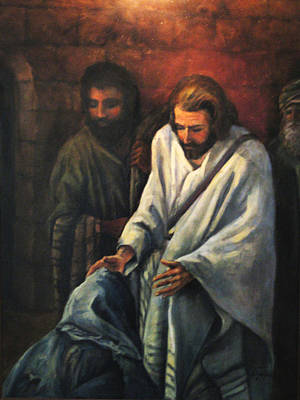 Jesus Healing Beggar Art Print by Donna Tucker