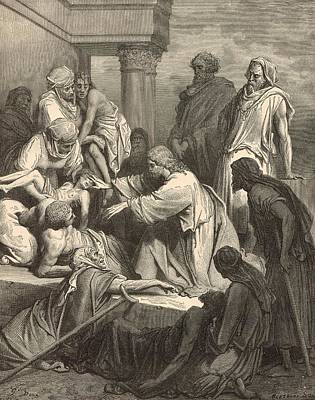 Scriptural Drawing - Jesus Healing The Sick by Antique Engravings