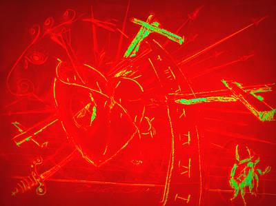 Jesus Heart Series - Flaming Heart Art Print by David De Los Angeles