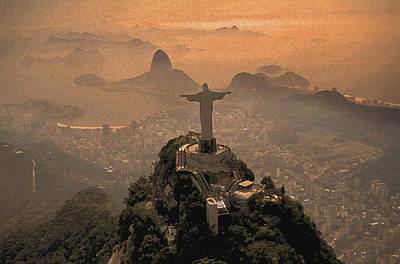 Jesus In Rio Painted Print by Christian Heeb