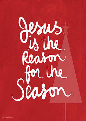 Calligraphy Mixed Media - Jesus Is The Reason For The Season- Greeting Card by Linda Woods