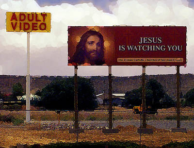Jesus Is Watching You Art Print by Ron Regalado