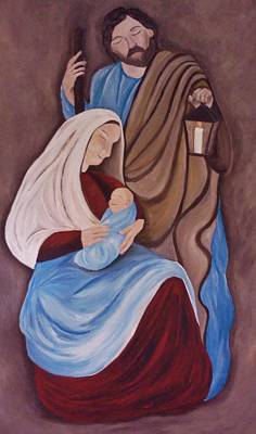 Painting - Jesus Joseph And Mary by Christy Saunders Church
