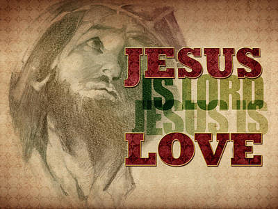 Art Print featuring the drawing Jesus Love by Michele Engling