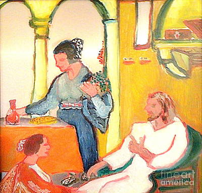 Parable Of The Good Samaritan Painting - Jesus Mary And Martha 1 by Richard W Linford