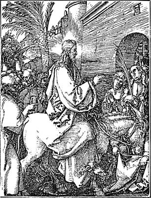 Wall Art - Drawing - Jesus On The Donkey Palm Sunday Etching by
