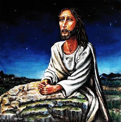 Jesus Praying In The Garden Art Print by Todd Spaur