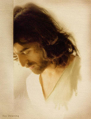 Jesus Face Digital Art - Jesus Praying by Ray Downing