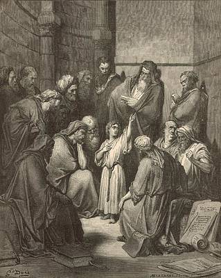 Jesus Questioning The Doctors Art Print by Antique Engravings